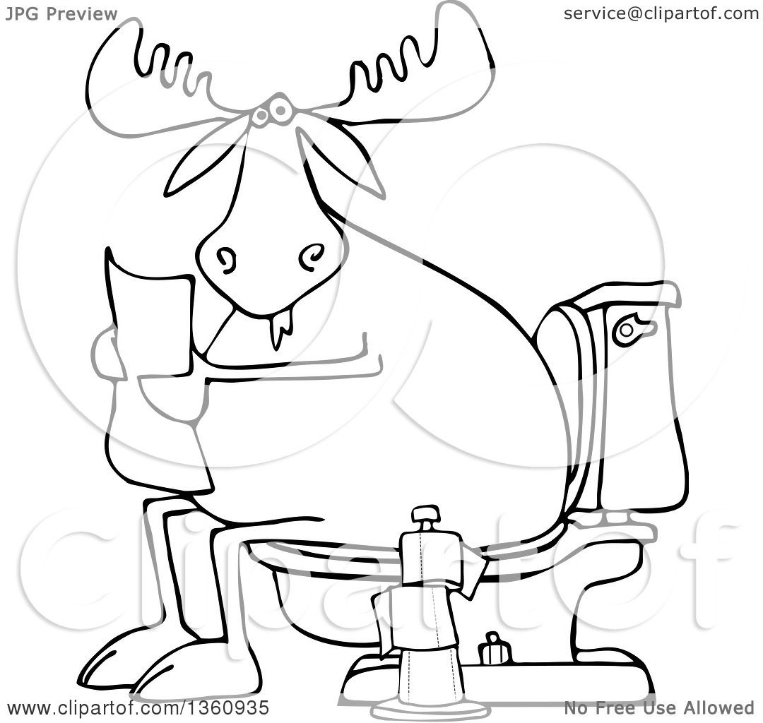 Clipart Of A Cartoon Black And White Moose Reading Newspaper On Toilet
