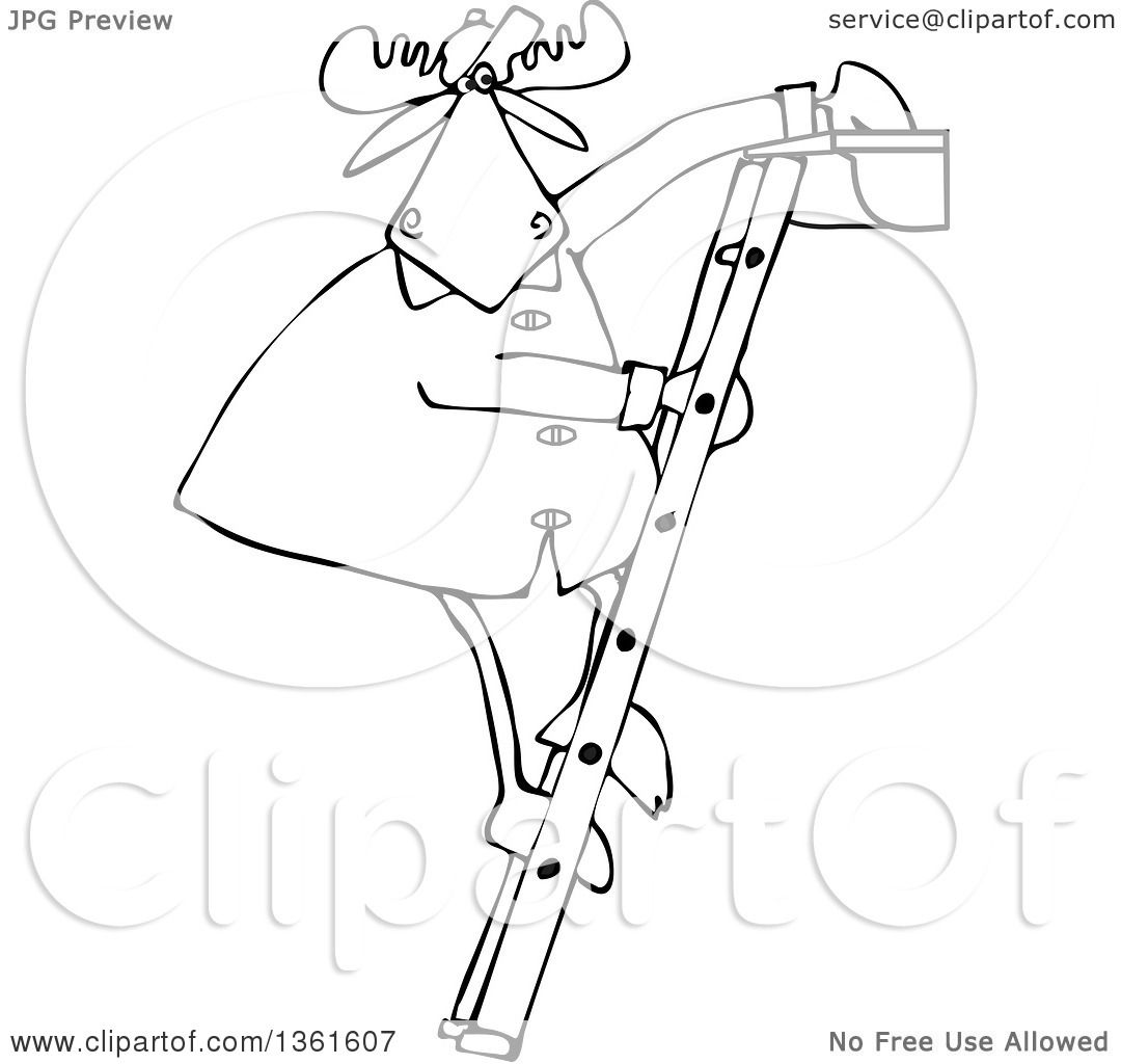 Clipart Of A Cartoon Black And White Moose Standing On A