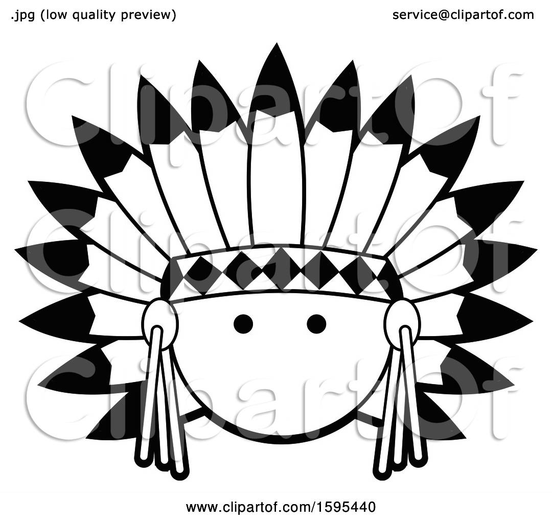 Clipart of a Cartoon Black and White Native American Chief ...