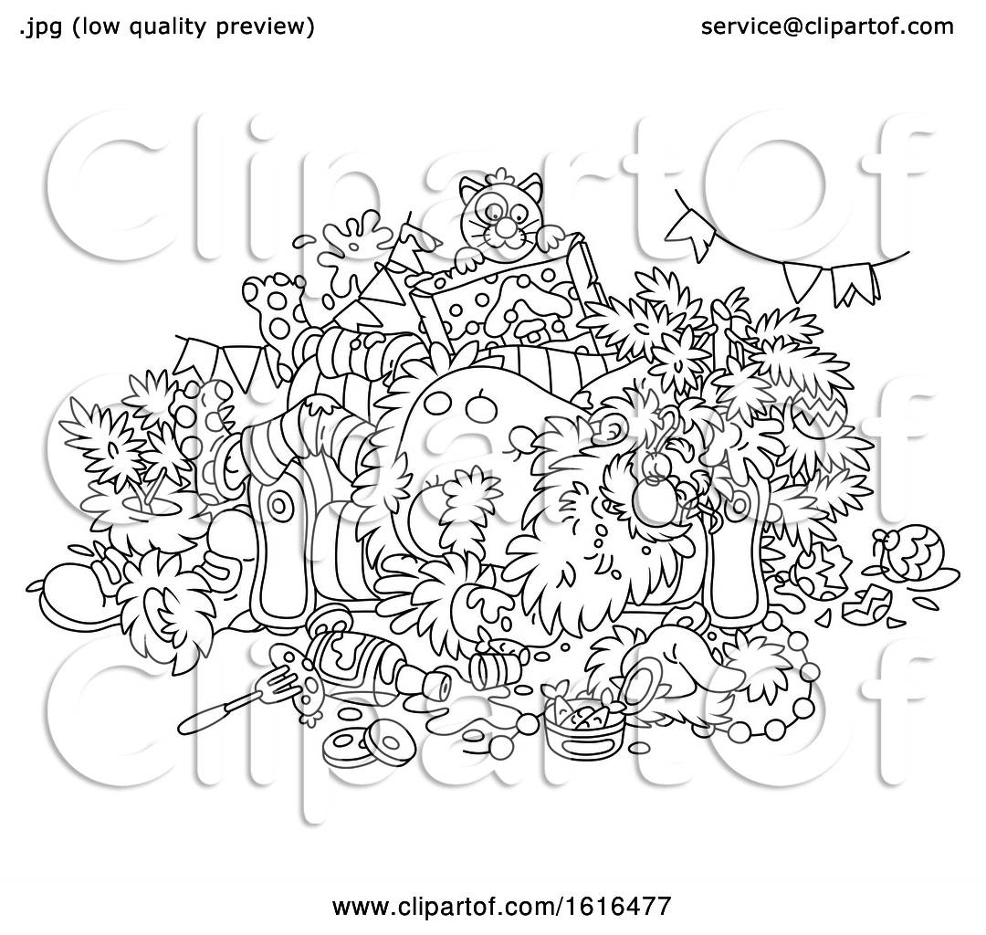 Clipart of a Cartoon Black and White Passed out Drunk Santa Claus on  Christmas - Royalty