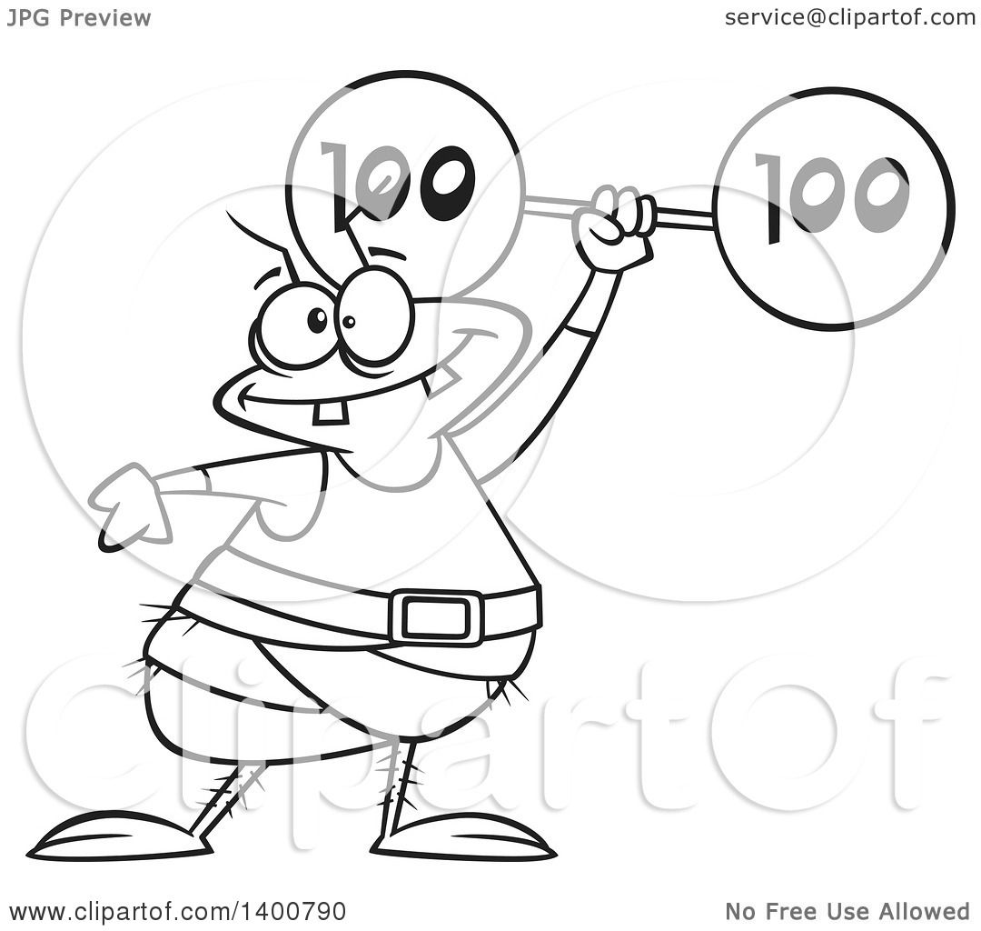 flea coloring page - clipart of a cartoon black and white strong flea lifting a