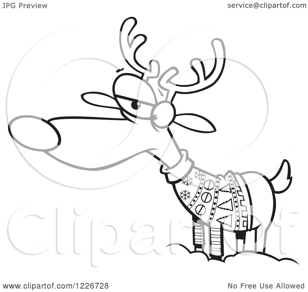 clipart of a cartoon black and white unhappy reindeer in an ugly