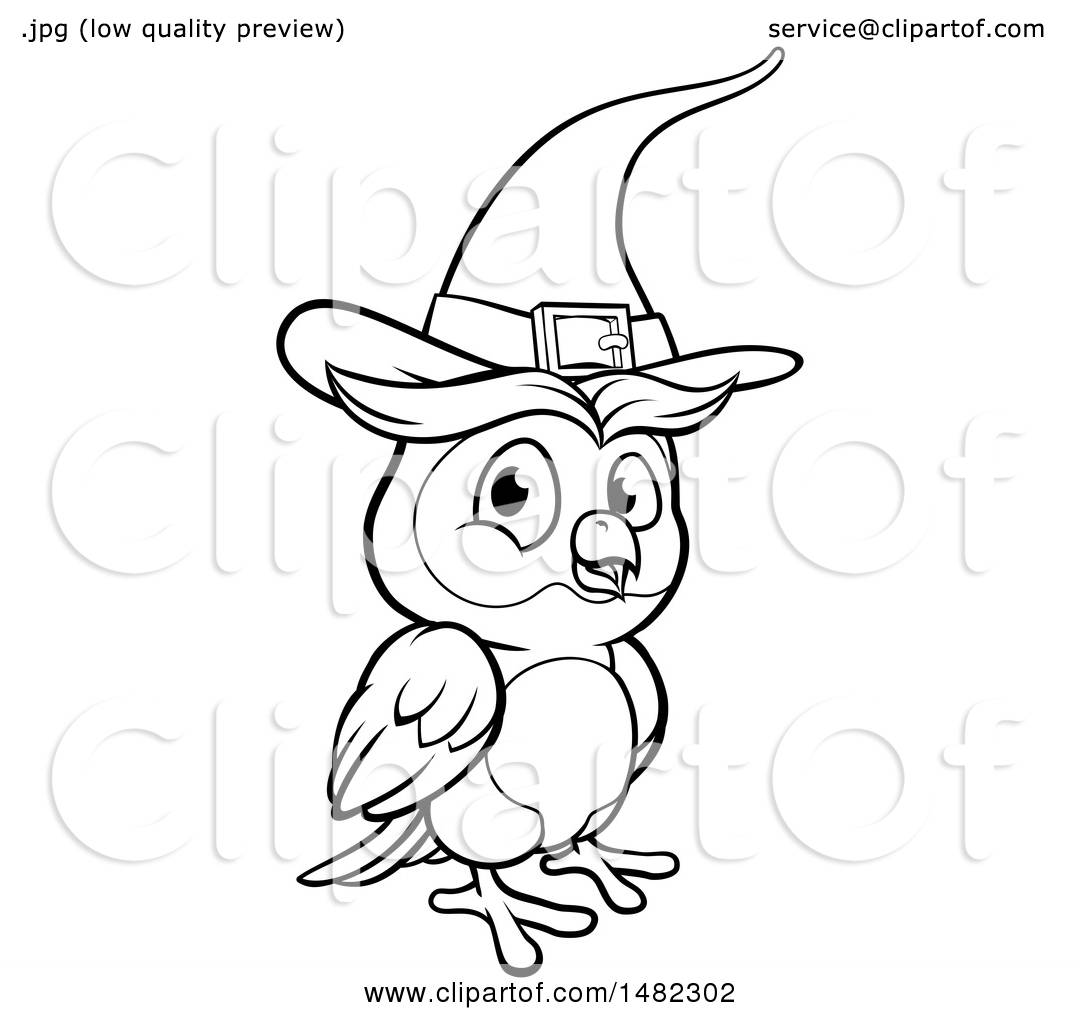 Clipart of a Cartoon Black and White Witch Owl Wearing a ...