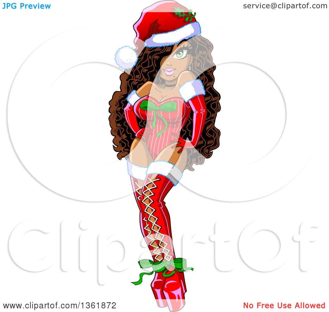 Clipart of a Cartoon Black Christmas