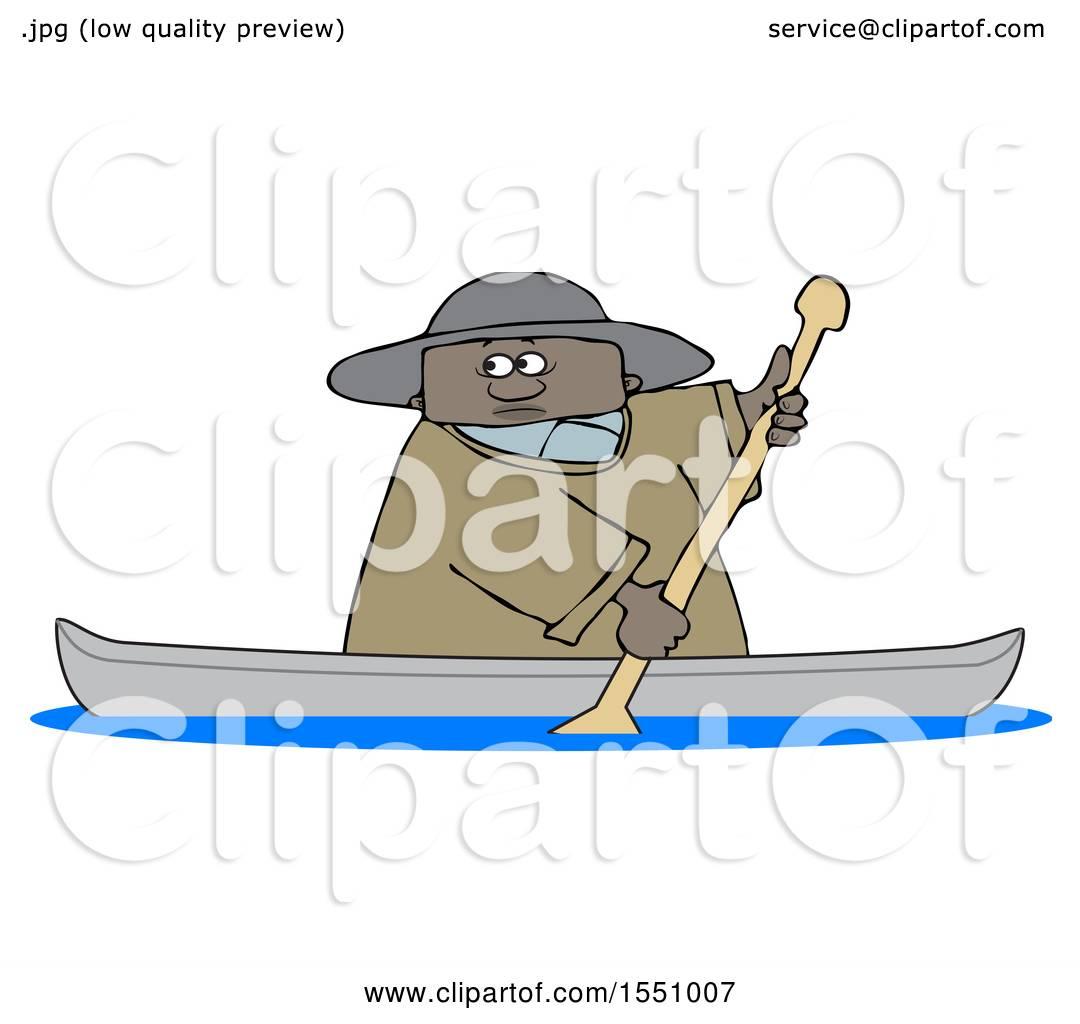 Clipart Of A Cartoon Black Man Rowing Canoe