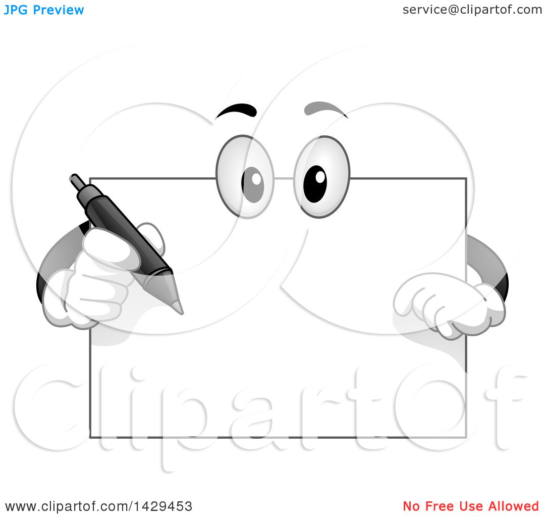 clipart of a cartoon blank board mascot holding a pen