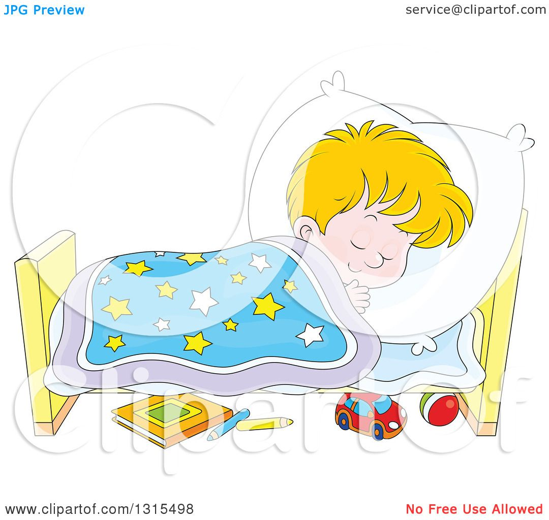 Clipart of a Cartoon Blond White Boy Sleeping Peacefully in a Bed ...