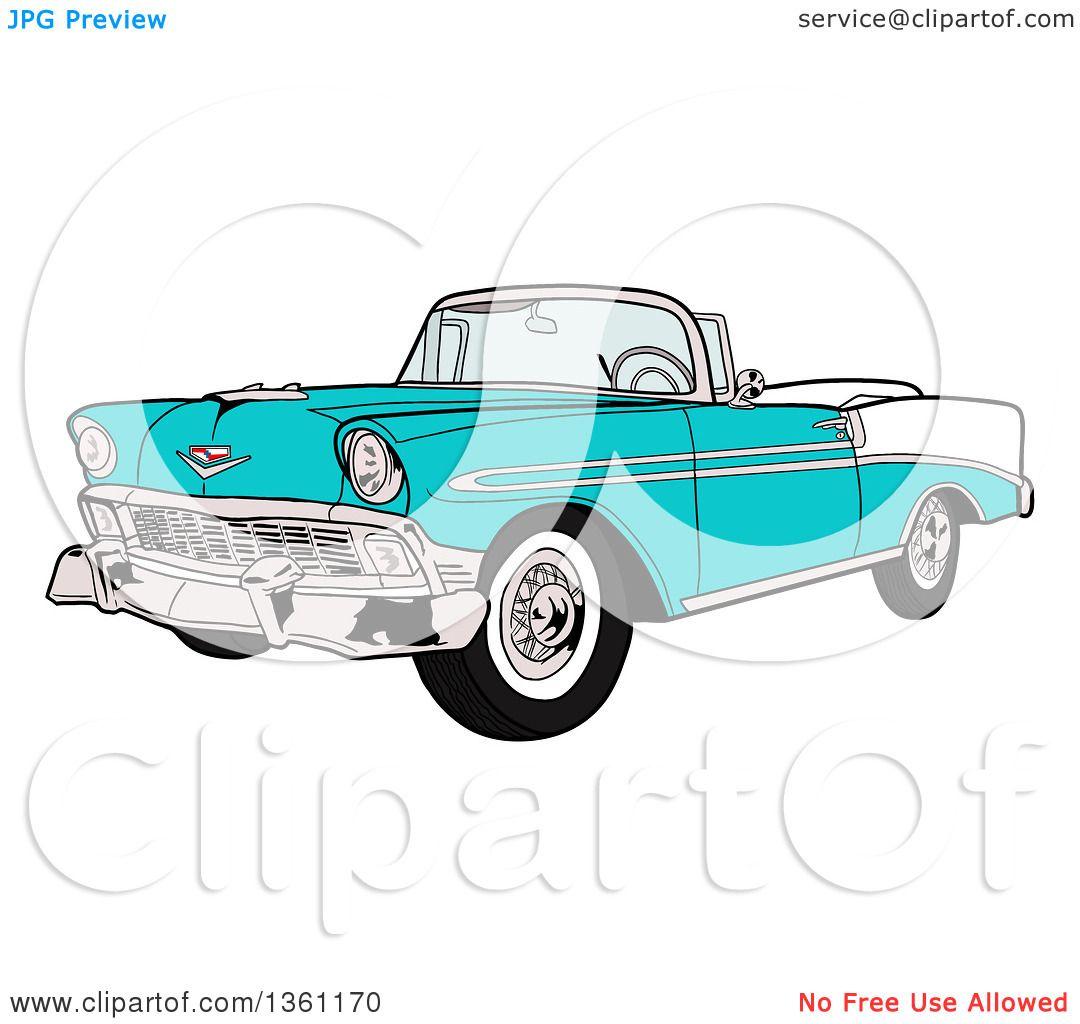Clipart Of A Cartoon Blue 1956 Chevrolet Bel Air Classic