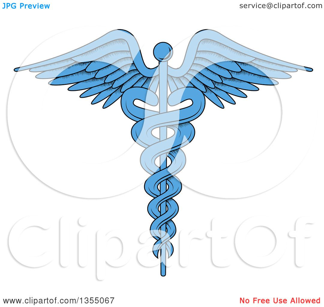 Clipart of a cartoon blue medical caduceus with snakes on a winged clipart of a cartoon blue medical caduceus with snakes on a winged rod royalty free vector illustration by vectorace buycottarizona