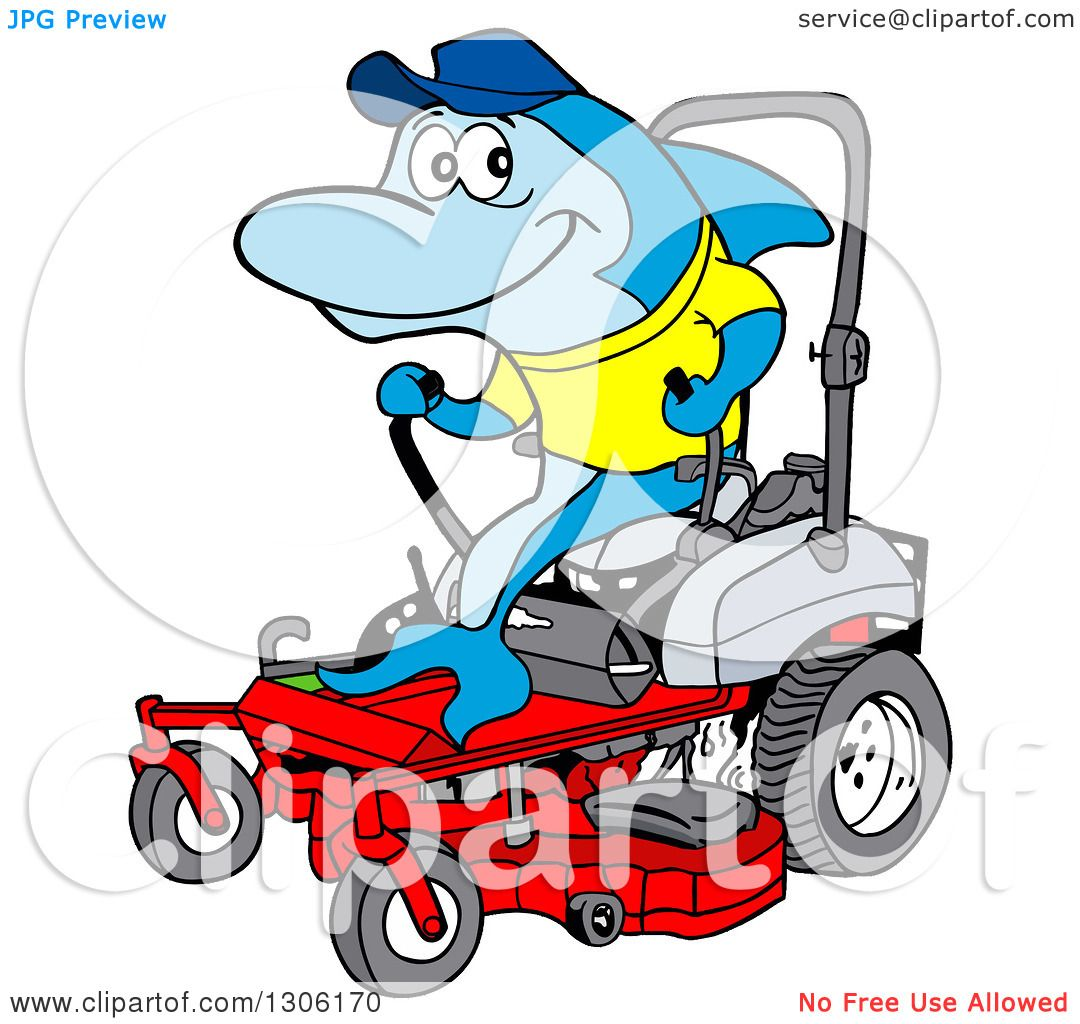 Clipart Of A Cartoon Blue Shark Operating A Red Riding