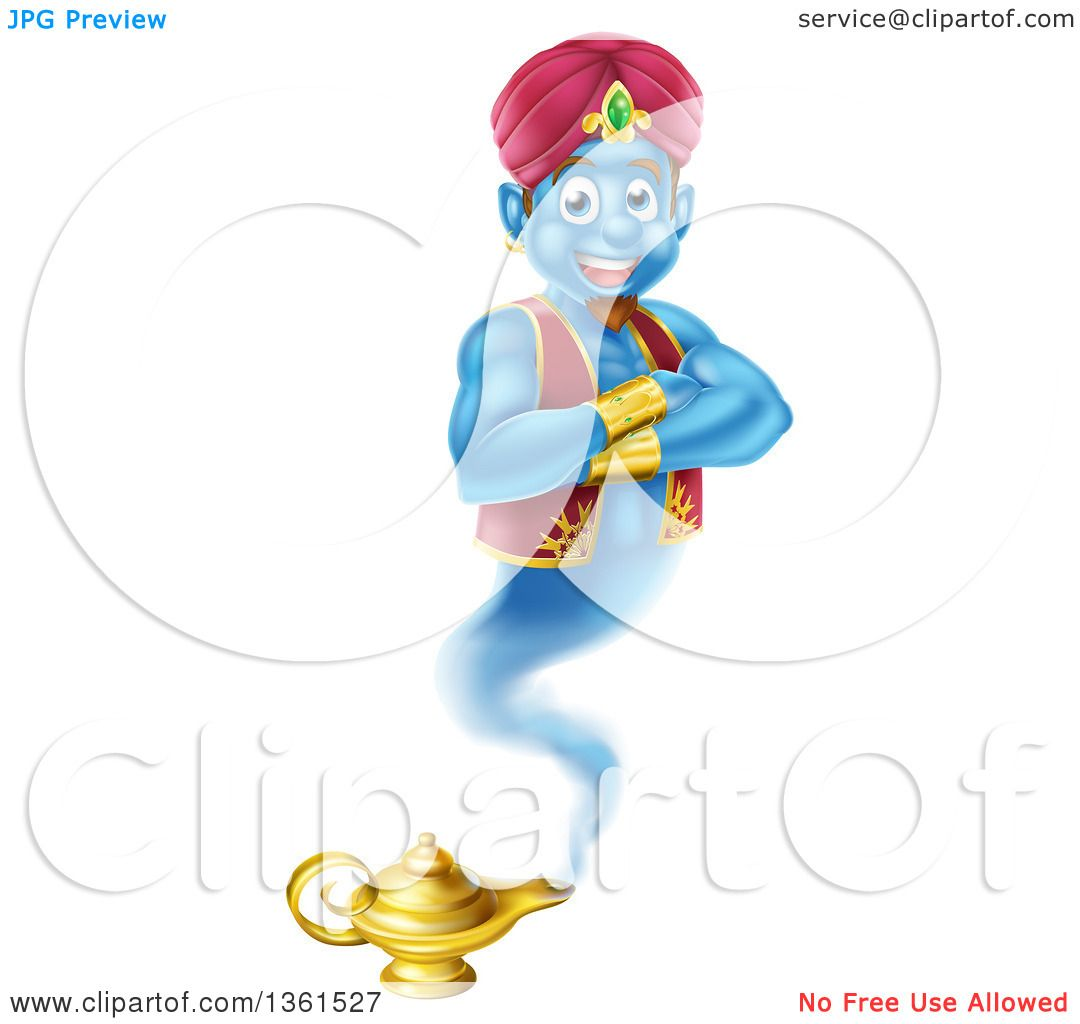 Clipart of a Cartoon Blue Strong Blue Aladdin Genie Floating over a ... for Aladdin Genie Clipart  58lpg