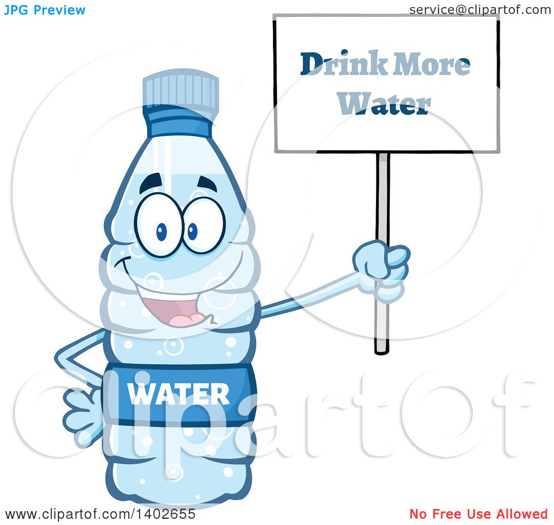 Clipart of a Cartoon Bottled Water Character Mascot ...