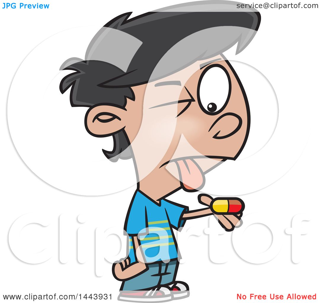 Clipart of a Cartoon Boy with a Bitter Pill to Swallow - Royalty ...