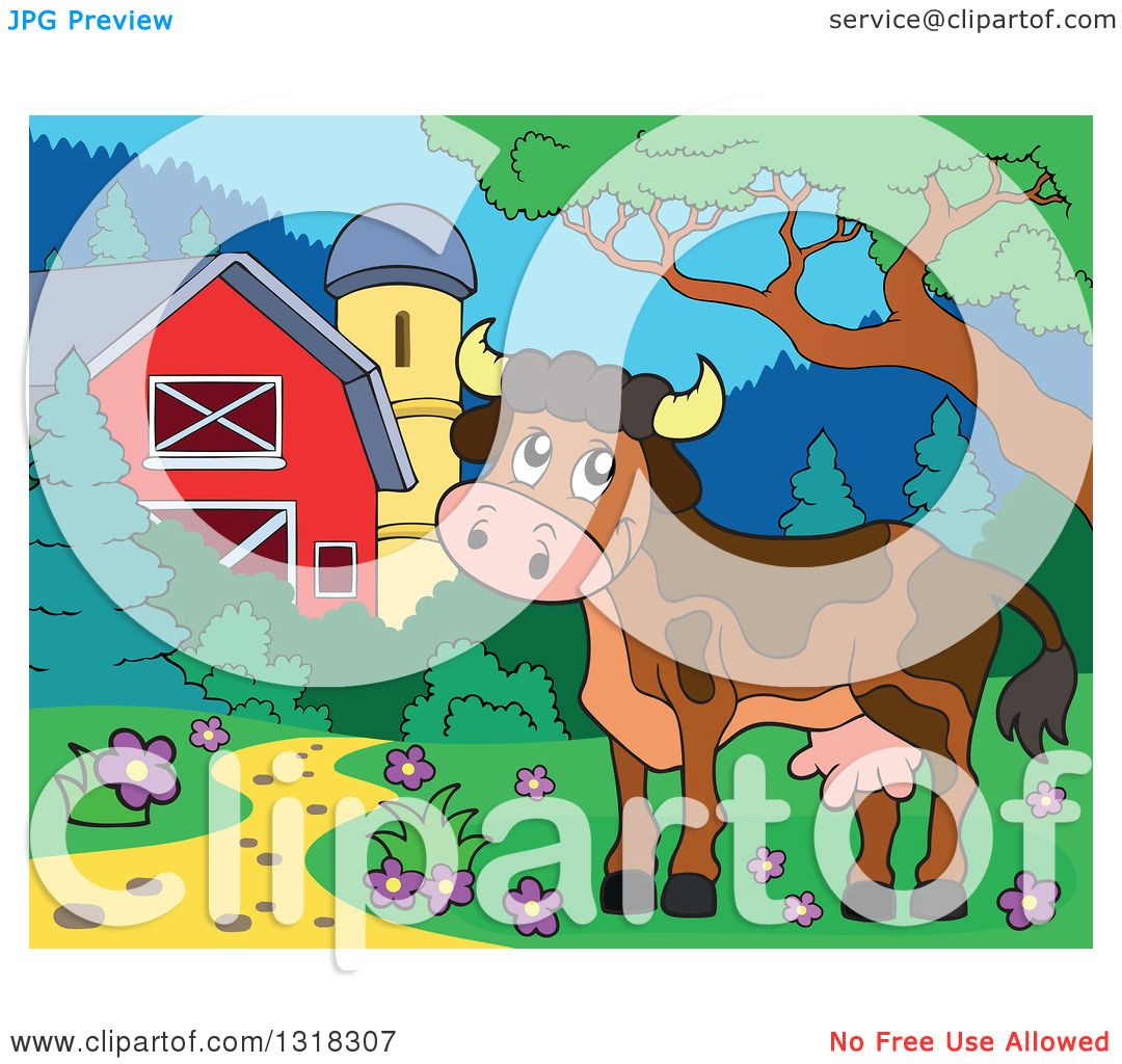 Clipart Of A Cartoon Brown Cow In A Yard By A Barn And