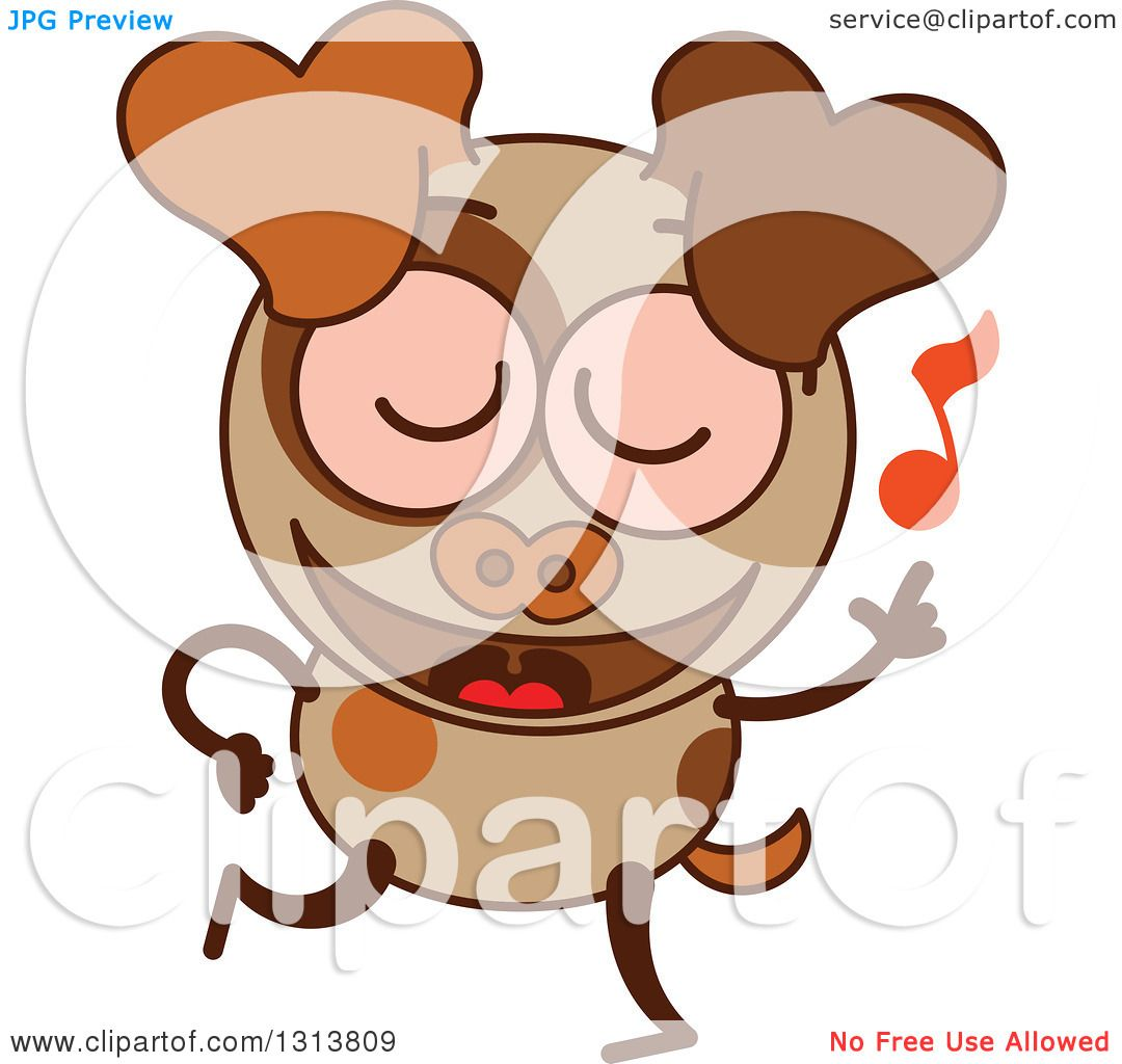 Clipart of a Cartoon Brown Dog Character Dancing to Music ...