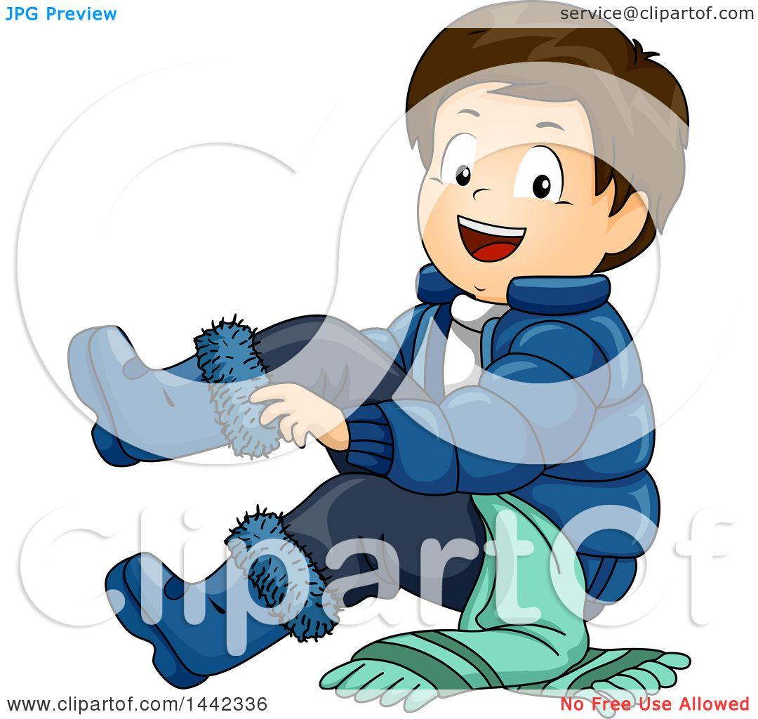 Clipart Of A Cartoon Brunette Caucasian Boy Putting On
