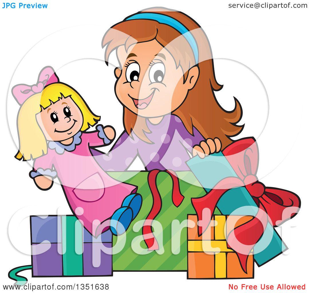 Clipart of a Cartoon Brunette Caucasian Girl Opening a ...