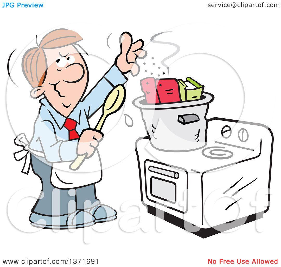 Clipart of a Cartoon Brunette Caucasian Man Cooking the ...