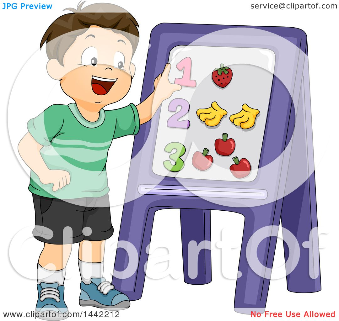 Clipart of a Cartoon Brunette Caucasian Schhool Boy Learning ...