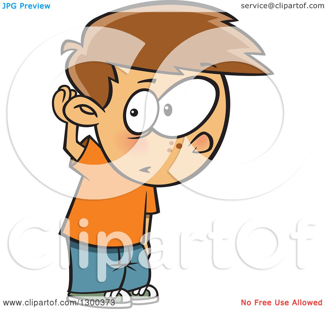 clipart of a cartoon brunette white boy covering his ear. Black Bedroom Furniture Sets. Home Design Ideas
