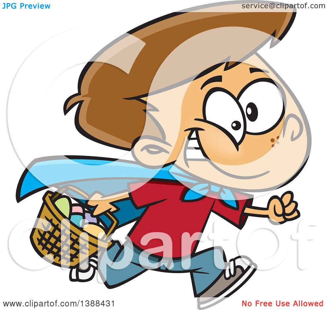 Clipart of a Cartoon Brunette White Boy Wearing a Cape and Running ... for Easter Egg Hunt Clipart  70ref