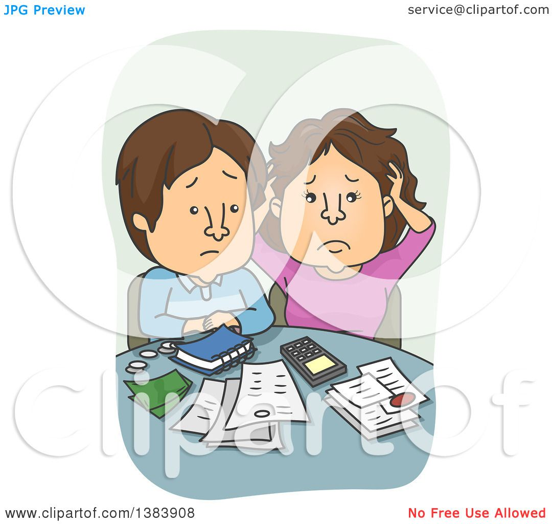 Clipart Of A Cartoon Brunette White Couple Discussing