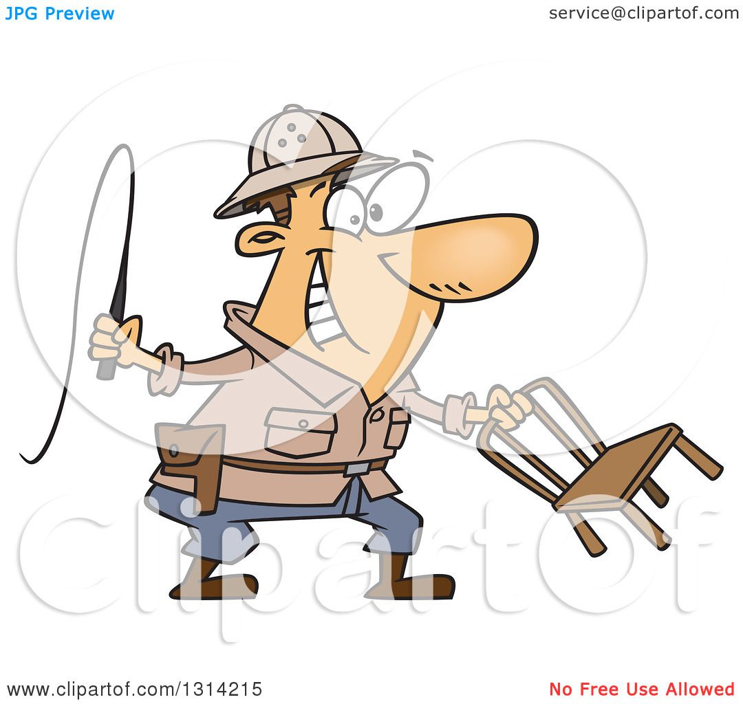 clipart of a cartoon brunette white lion tamer man holding a whip