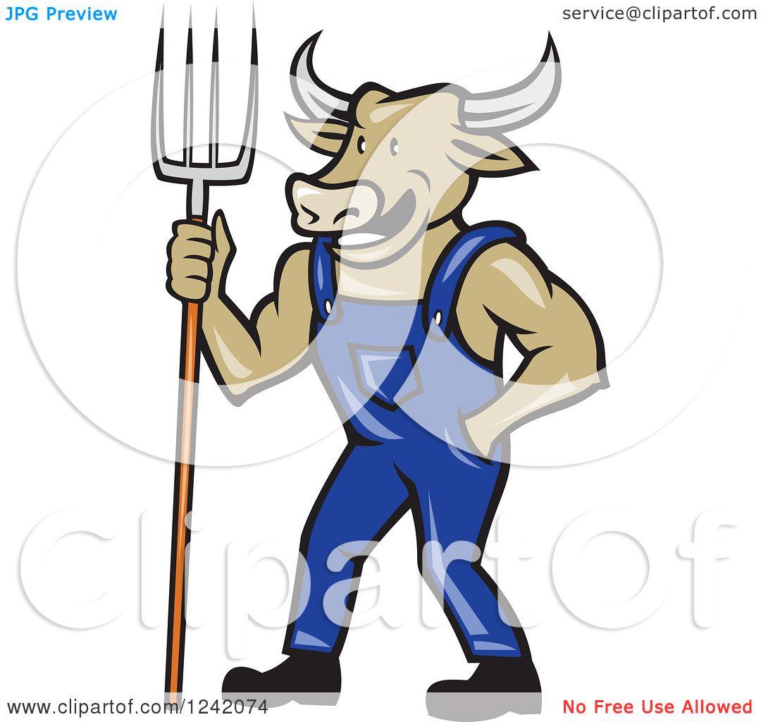 Clipart of a Cartoon Bull Cow Farmer with a Pitchfork and ...