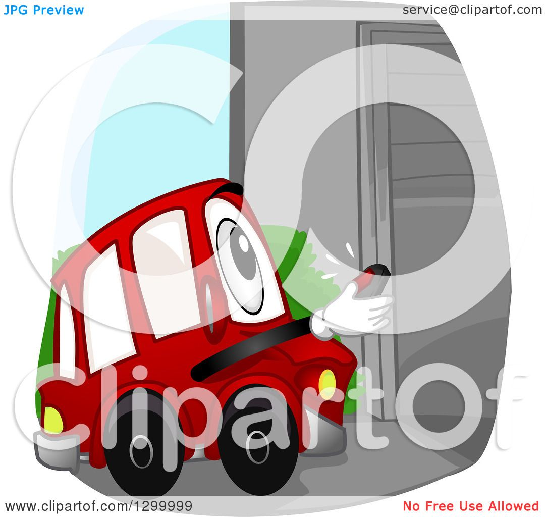 Clipart of a Cartoon Car Character Opening a Garage with a Remote ...