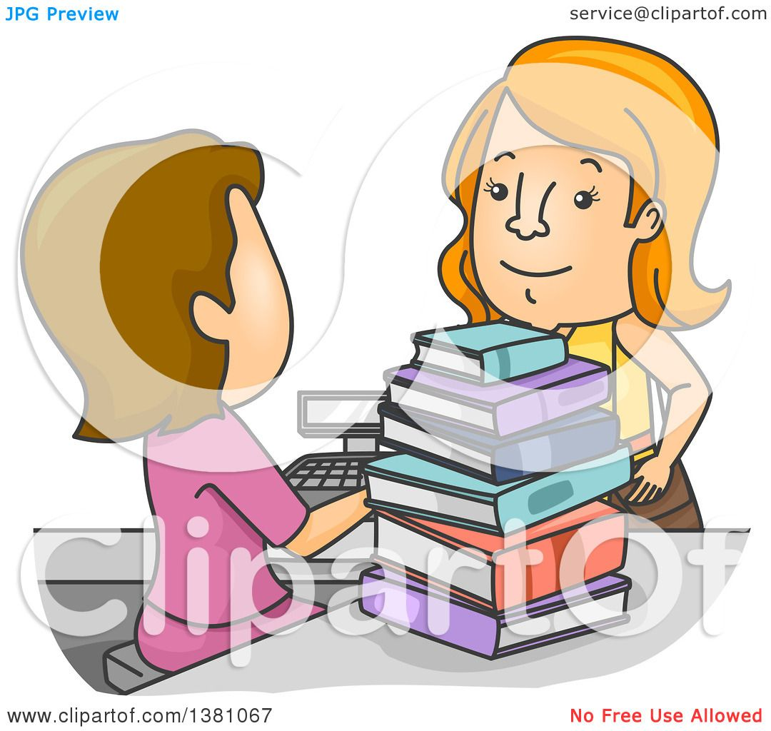 Clipart of a Cartoon Cashier Ringing up a Woman at a Book Store ...