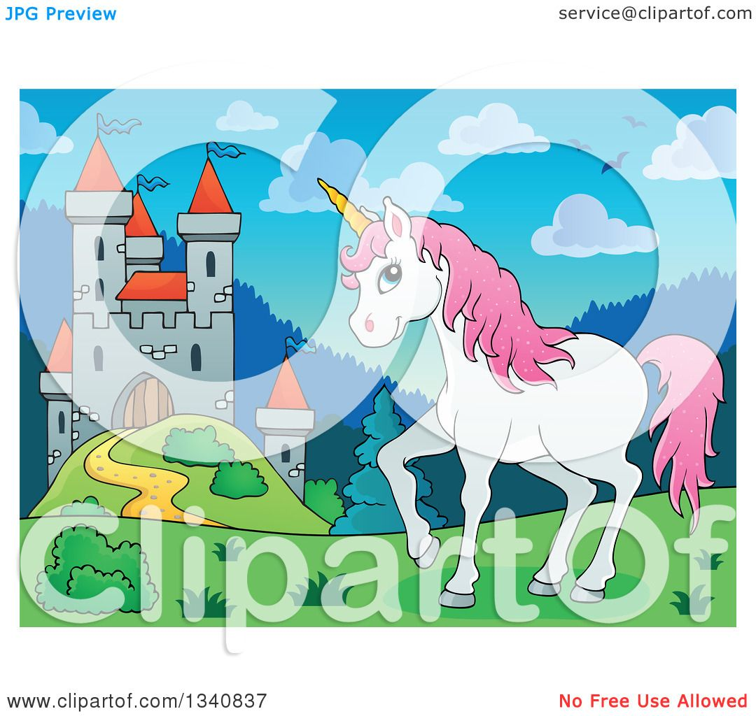 Clipart Of A Cartoon Castle And White And Pink Unicorn