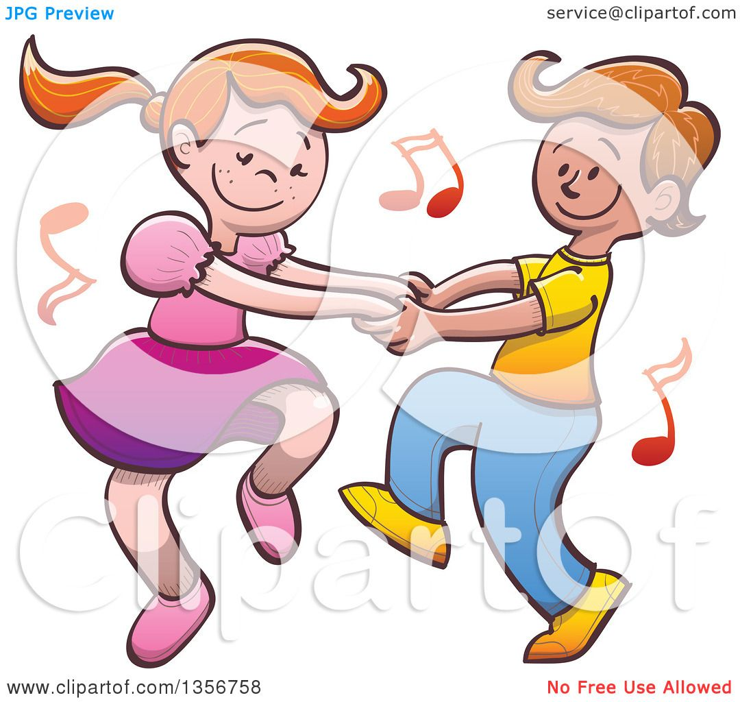 Clipart Of A Cartoon Caucasian Boy And Girl Dancing -1260