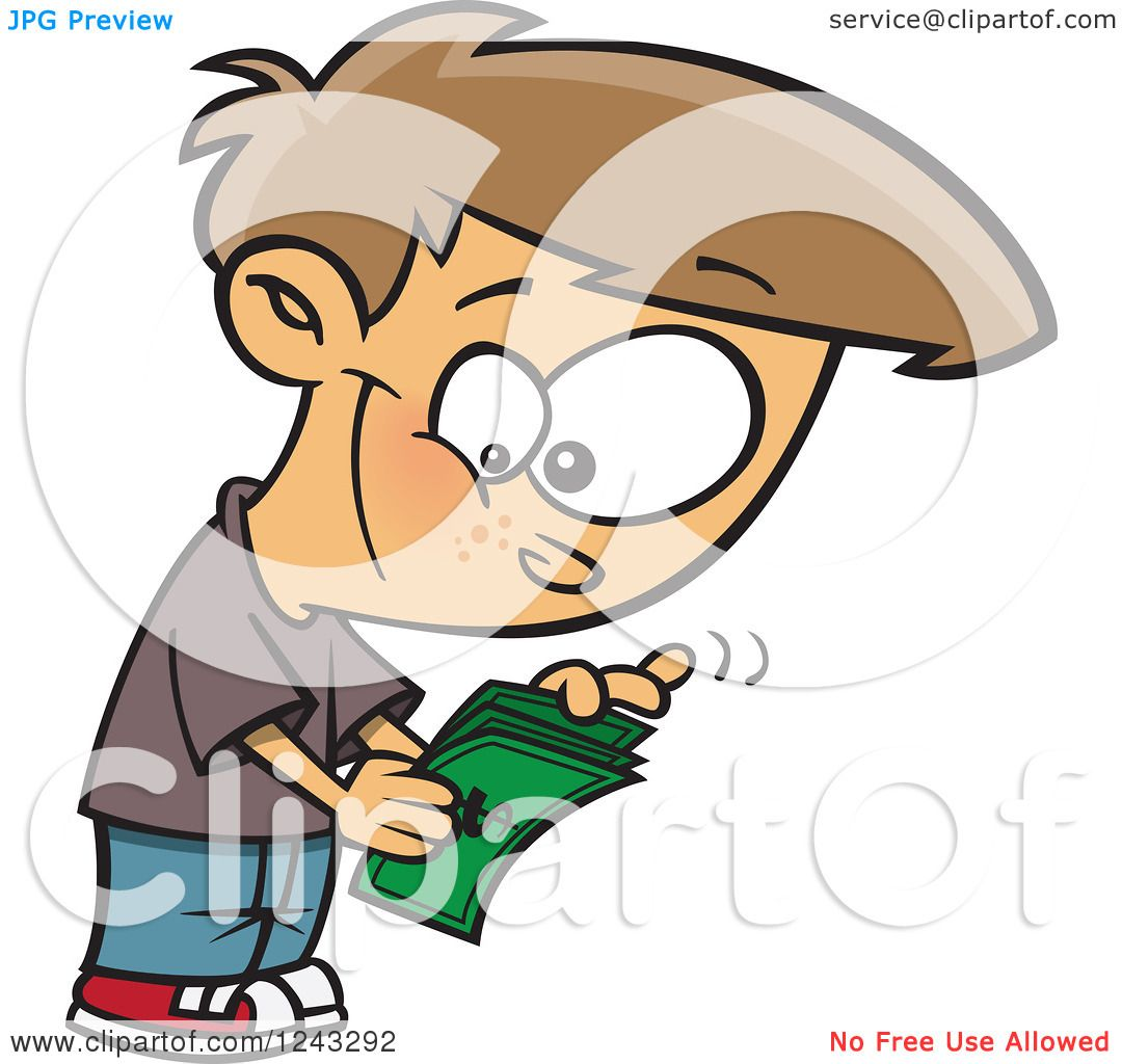 Clipart of a Cartoon Caucasian Boy Counting His Allowance Money ...