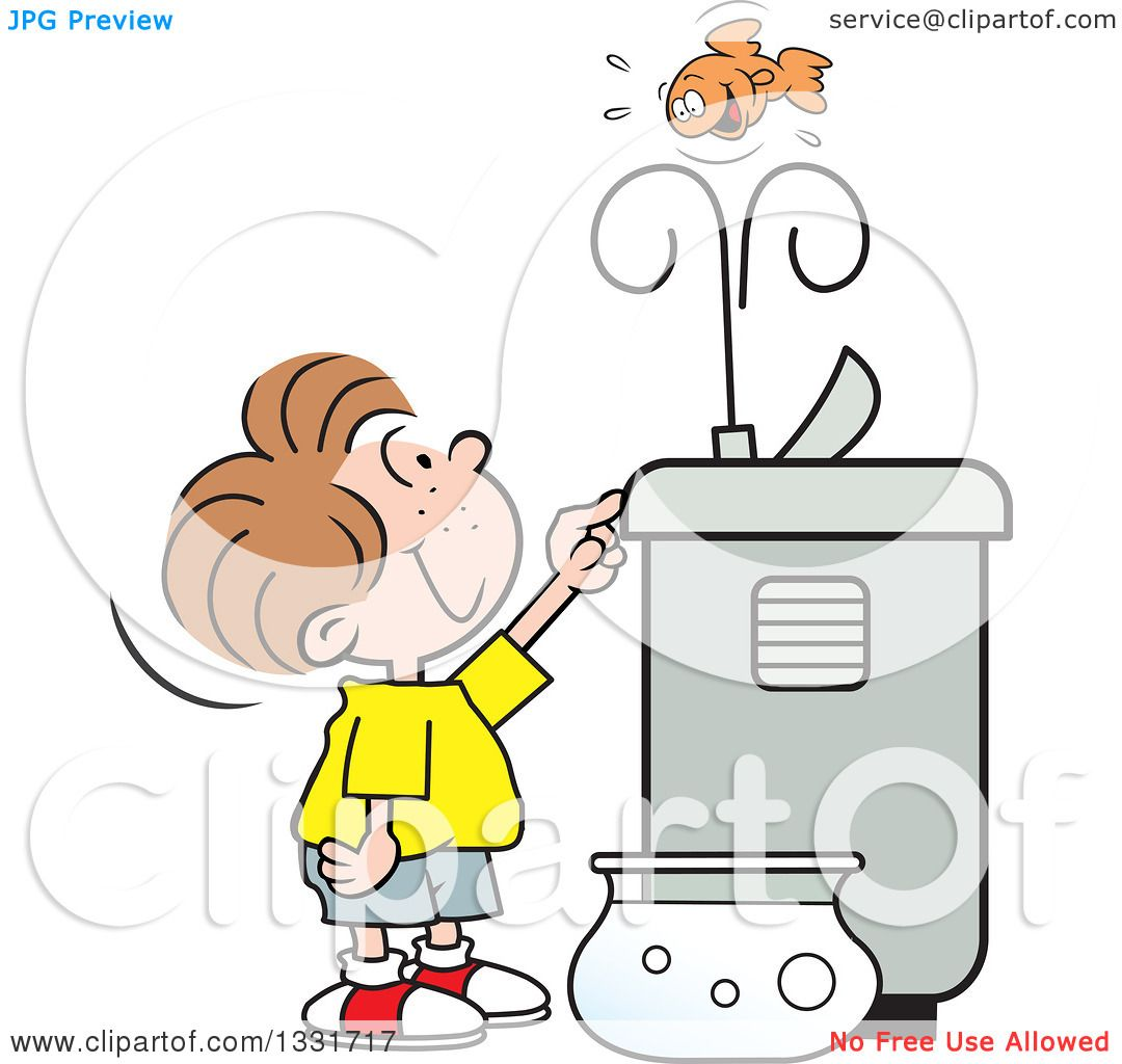 clipart of a cartoon caucasian boy playing with a goldfish in the
