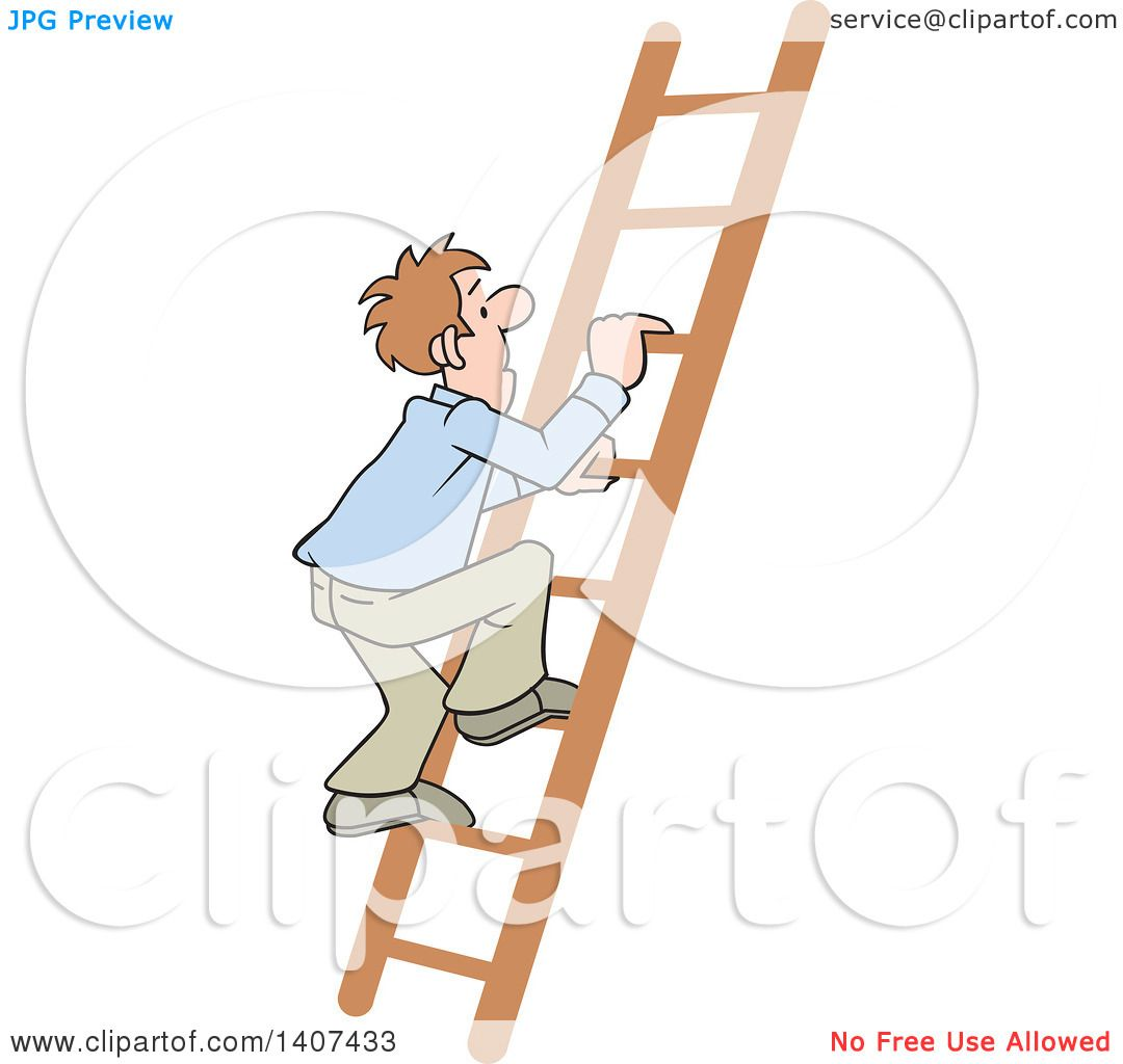 Clipart of a Cartoon Caucasian Business Man Climbing up a Ladder ...