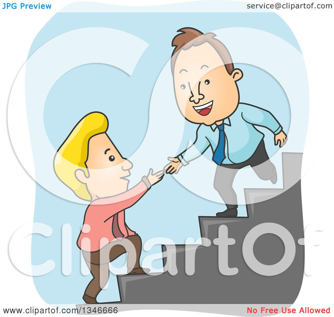 Clipart Of A Cartoon Caucasian Business Man Offering A