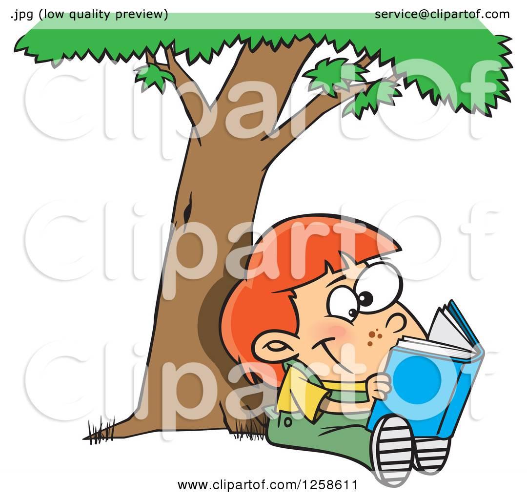 Vector Stock - Reading under tree. Clipart Illustration gg99186244 - GoGraph