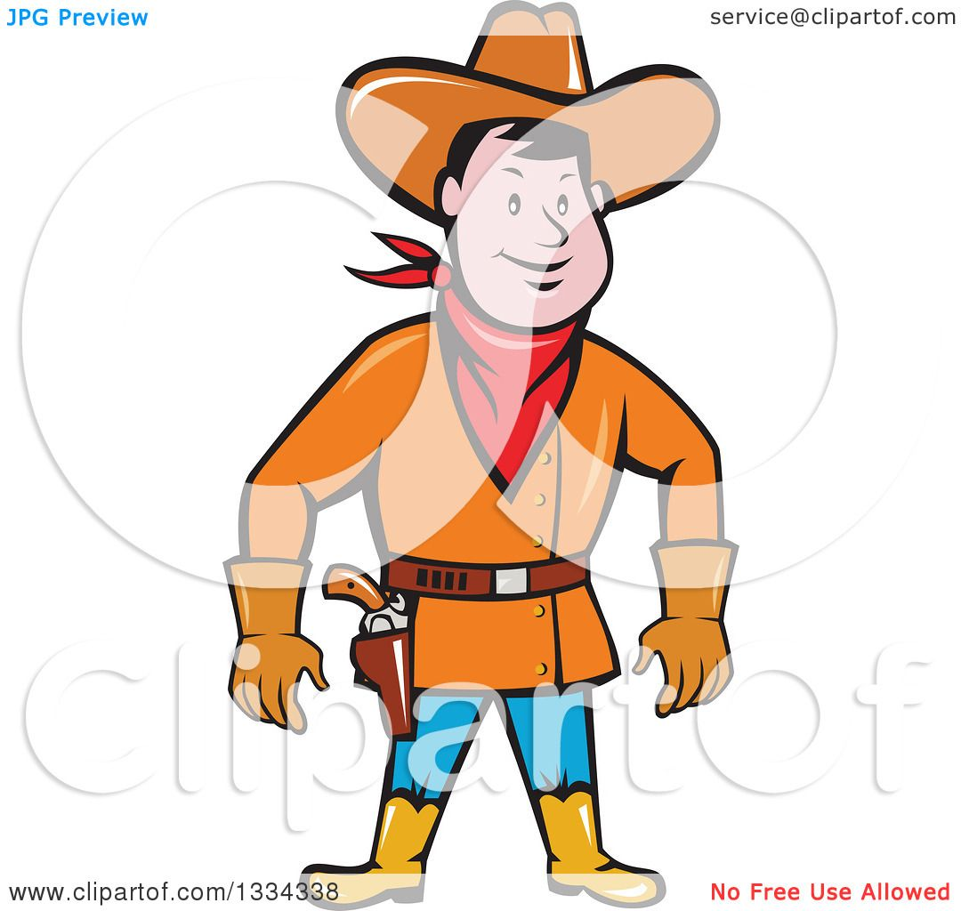 Clipart Of A Cartoon Caucasian Cowboy Standing And Ready To Draw Gun