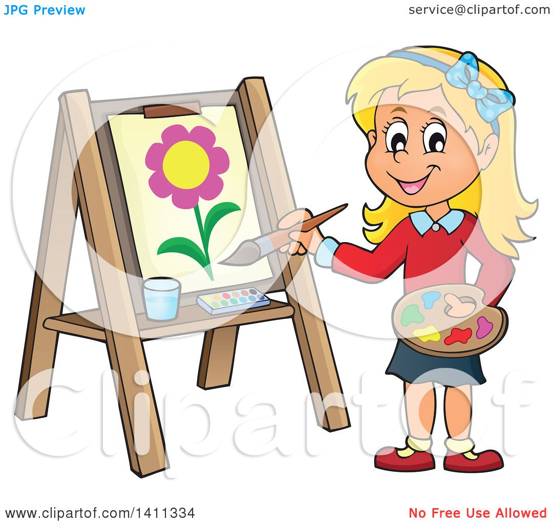 Clipart of a Cartoon Caucasian Girl Painting a Flower on ...