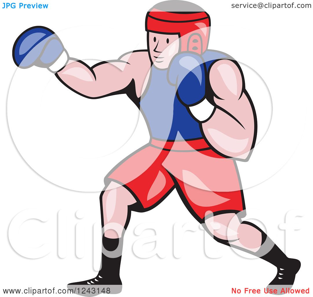 Clipart Of A Cartoon Caucasian Male Boxer Punching Royalty Free