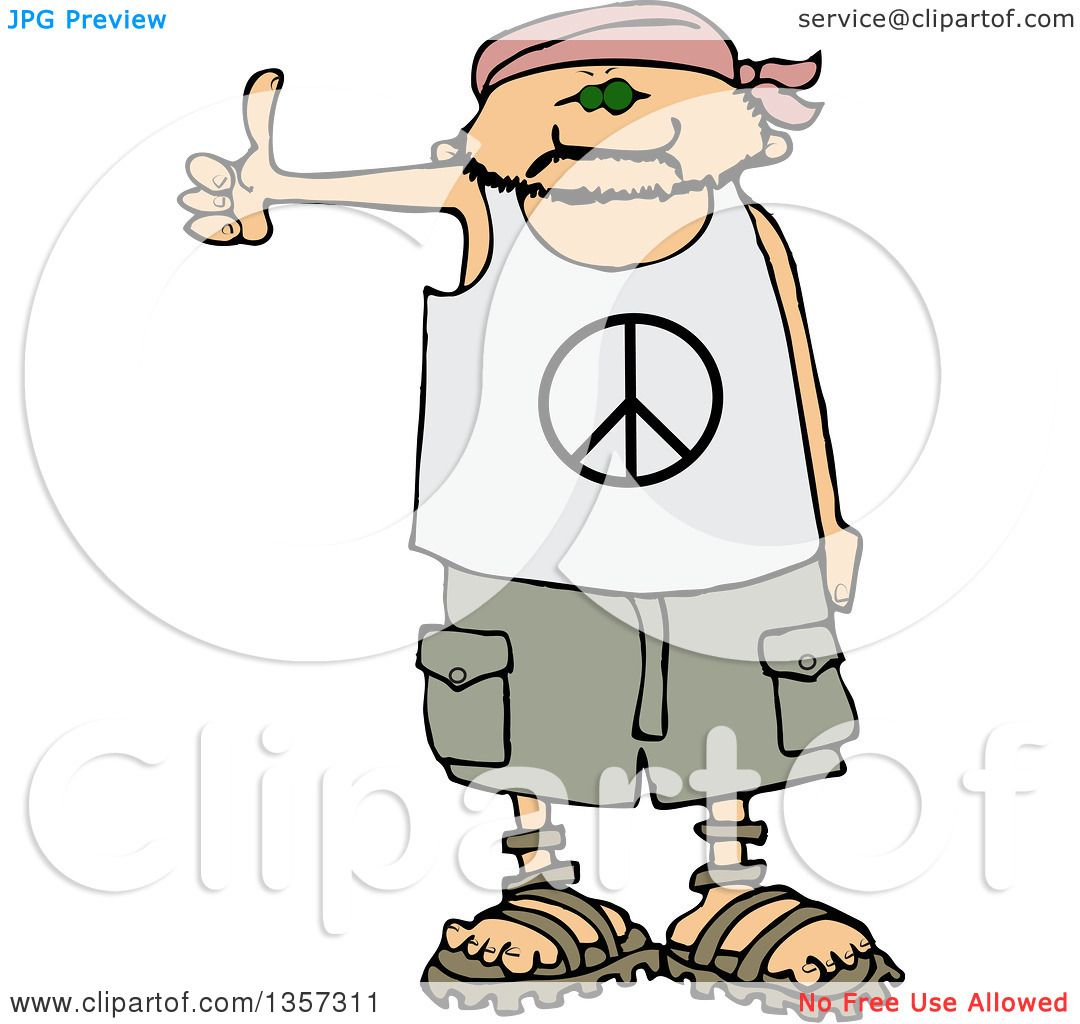 Clipart Of A Cartoon Caucasian Male Hitchhiker Wearing A