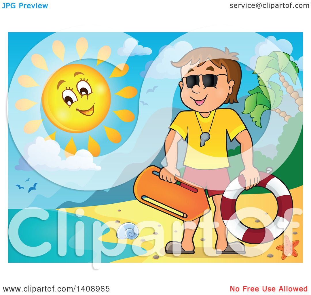 Lifeguard chair cartoon - Clipart Of A Cartoon Caucasian Male Lifeguard On A Sunny Beach Royalty Free Vector Illustration By Visekart