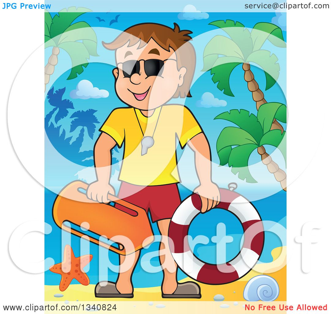 Lifeguard chair cartoon - Clipart Of A Cartoon Caucasian Male Lifeguard On A Tropical Beach Royalty Free Vector Illustration By Visekart