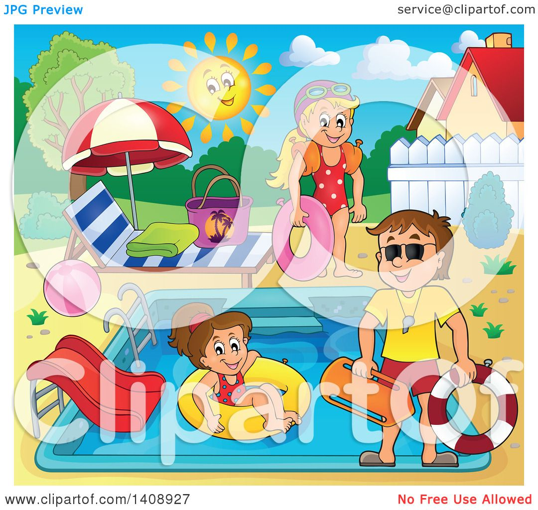 Clipart Of A Cartoon Caucasian Male Lifeguard Supervising