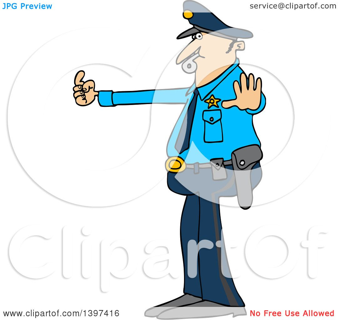 clipart of a cartoon caucasian male police officer blowing a