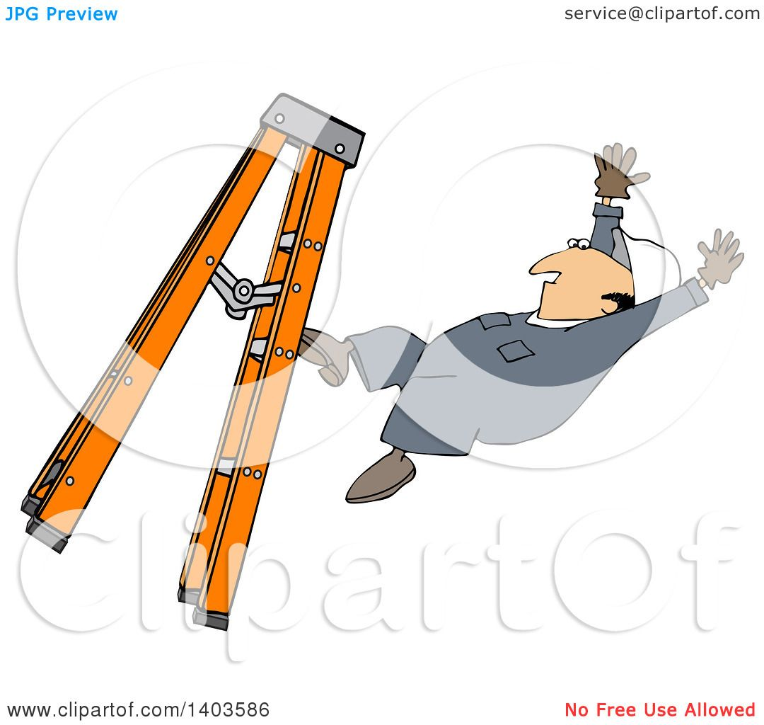 Clipart Of A Cartoon Caucasian Male Worker Falling From A