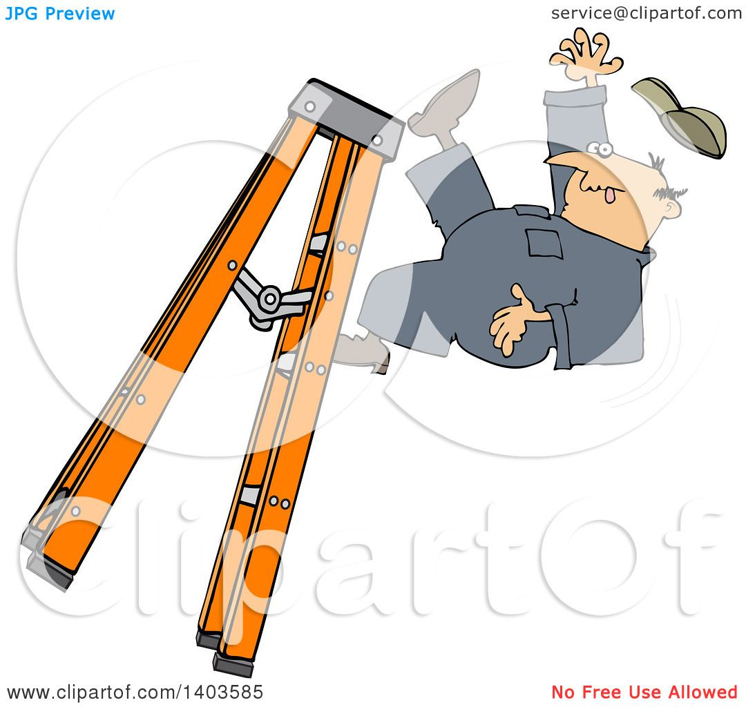 Clipart of a Cartoon Caucasian Male Worker Falling off of ...