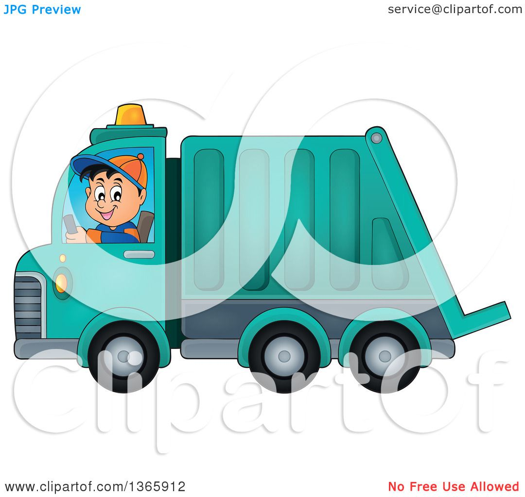 clipart of a cartoon caucasian man driving a garbage truck