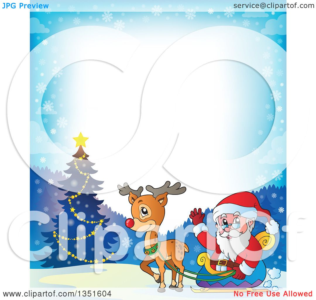 Clipart of a Cartoon Christmas Border of Santa Claus and Rudolph ...