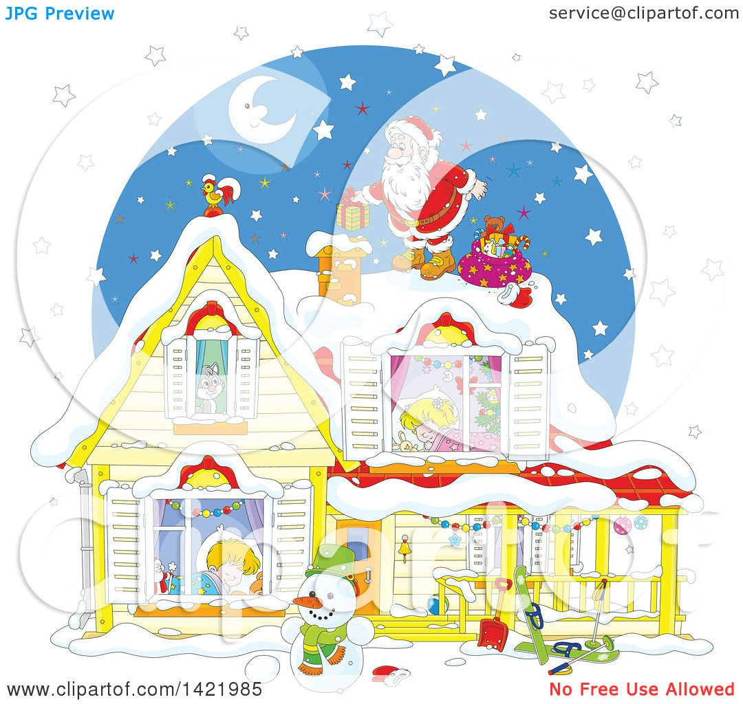 Clipart of a Cartoon Christmas Eve Scene of Santa on Top of a Home ... for Inside Window Clipart  193tgx